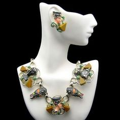 RARE-HOBE-Vintage-Egyptian-Enamel-Bakelite-Necklace-Earrings-Set-Mummy-Sphinx