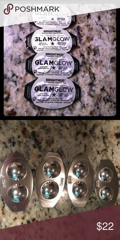 GLAM GLOW Brightmud Eye Treatment 4 dual chrome cells containing GLAM GLOW Brightmud Eye Treatment. Reverse action, quick fix under eye mud treatment for instant, bright eyes. Bioactive technology, absorbs toxins while delivery high nutrients & minerals to tired eyes. Active Teaoxi Peppermint Technology to de-puff eyes. Soothing Menthyl, Botanical Mint with Vitamin C & A helps skin look noticeably smoother & brighter. Refreshing and revitalizing eye treatment!! Glam Glow Makeup
