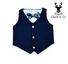 Boys Blue Formal Wear Vest. Perfect for your childs next event; wedding, recitial, birthday, etc.  BOYISHCHARMandCO on Etsy
