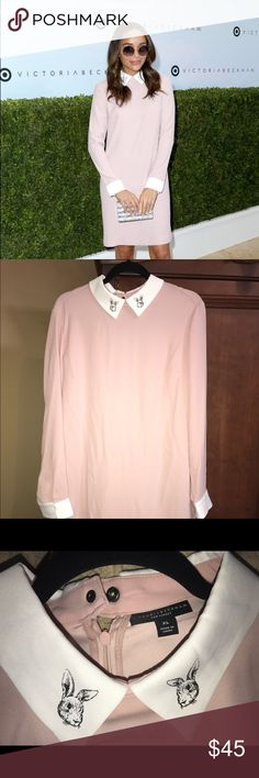 Victoria Beckham For Target Blush Pink Dress XL The epitome of sleek sophistication, this Women's Blush Collared Dress by Victoria Beckham for Target is a chic and polished piece that can easily be dressed up or down.  Sizing: Women Material: 100% Polyester, Neckline: Collared, Sleeve Style: Long sleeve, Closure Style: Pullover, Back full length zipper Pocket Style: No pocket Length: At knee Care and Cleaning: Machine wash, cold, Machine wash, gentle or delicate, Wash with Like Colors…