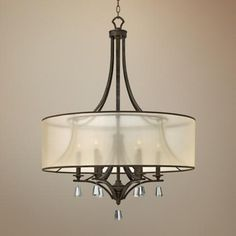 Classic elegance defines this French Bronze chandelier with a sheer fabric drum shade. 43 high x 30 wide x hang weight 22 lbs. Style # at Lamps Plus. Bronze Chandelier, Chandelier Lighting, Interior Lighting, Home Lighting, Stairway Lighting, Classic Elegance, Drum Shade, Kitchen Lighting, Bronze Finish