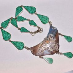 Vintage-Taxco-Two-Trees-Sterling-Turquoise-Chip-Inlay-Aztec-Mayan-Necklace