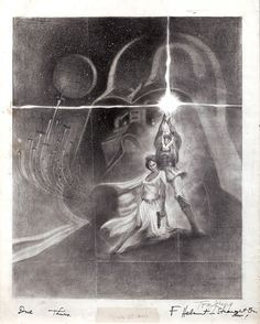 This is the final concept pencil drawing for the creation of the Star Wars poster, considered the franchise's most famous poster. This revised version of the drawing shows a more provocative Princess Leia, thought to be too sexy by the studio. Artist Tom Jung signed the drawing in the lower right of the print.