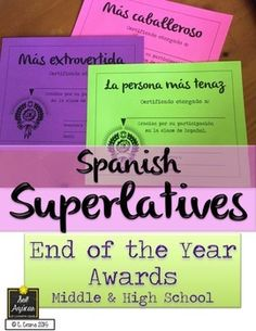 End of the Year Awards for Spanish Class - middle and high school. By Sol Azúcar