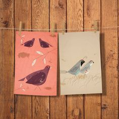 MAGPIE - GAME BIRDY - SET OF 2 TEA TOWELS (QUAIL & GROUSE)