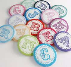 bold initial personalised badges by little cherub design   notonthehighstreet.com