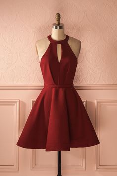 Cute Red Mini Homecoming Dresses,Halter Sleeveless Mini Prom Dresses,Short Party Homecoming Gown