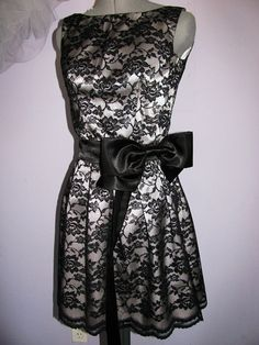 SALE 20% OFF  Black lace and silver satin dress, ready to ship size S, LBD, cocktail dress, bridesmaid.