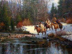 Indian Winter by Mark Keathley ~ Native Americans on horseback crossing river teepees