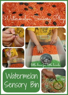 Wonderful Watermelon Rice Sensory Bin Play: Part 1