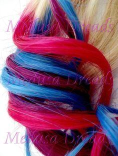 Hand dyed human hair extensions in pink,purple & blue ( https://www.facebook.com/medusadreadshair )