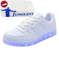 (Present:kleines Handtuch)Weiß EU 46, Farbwechsel Herren Led JUNGLEST® Neu High Top Blinkende Sport Freizeit mode Licht L