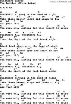 Blackbird lyrics & chords, by The Beatles