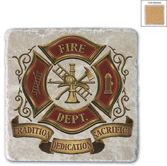 (COASTER)-(Single natural stone coasters are made of solid Italian Botticino Marble Cork-backed. Imprinted directly on the stone .)-(Volunteer Firefighter)-(white ivory slightly marbled smooth finish
