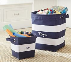 This seems like a good idea to have on the floor in his room for a couple toys.  Navy/White Striped Canvas Buckets #PotteryBarnKids