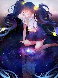 Image about anime in Vocaloid by 01010111 01001101 Vocaloid, Manga Anime, Manga Girl, Anime Hair, Beautiful Anime Girl, I Love Anime, Art Anime Fille, Anime Galaxy, Galaxy Galaxy