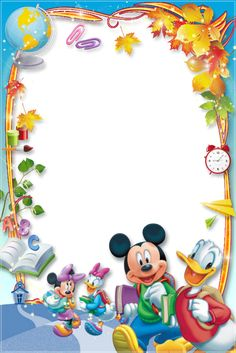 Mickey and friends Frame Border Design, Boarder Designs, Photo Frame Design, Disney Photo Frames, Disney Frames, Boarders And Frames, Diy And Crafts, Paper Crafts, School Frame