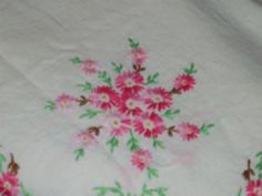 Tablecloth Pink Flowers Jadeite Embroidered vintage  by raggedy10, $16.00
