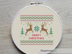 christmas cross stitch pattern, merry christmas, modern cross stitch, nordic folk art, PDF, ** instant download** by Happinesst on Etsy https://www.etsy.com/listing/206381705/christmas-cross-stitch-pattern-merry