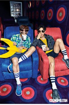 ZE:A Dong Jun and Hyung Sik - Cosmopolitan Magazine May Issue Human Poses Reference, Pose Reference Photo, Figure Reference, Conceptual Photography, Fashion Photography, Park Hyung Sik, Character Poses, Foto Pose, Fashion Poses