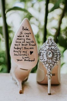 Love letter from husband to wife on wedding shoes idea #weddingring