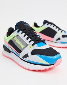 Puma mile rider sneakers in black and neon. #puma #sneakers #shoes #activewear