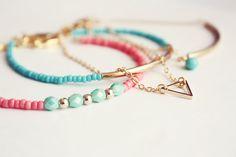 dainty triangle gold bracelet  minimalist jewelry by PetiteCo, $10.00