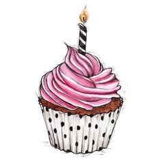 cupcake illustration for happy birthday Cupcake Kunst, Cupcake Art, Cupcake Rosa, Cupcake Clipart, Cupcake Ideas, Cupcake Illustration, Birthday Cake Illustration, Cupcake Vintage, Cupcake Drawing