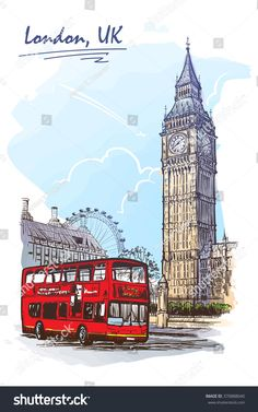 Popular view of busy Parliament Square with Big Ben and double decker bus. Sketch imitating ink pen scribbling in a notepad. Sketch is isolated on a separate layer. Big Ben, London Painting, Architecture Concept Drawings, London Art, London Food, Instagram Highlight Icons, London England, Cute Art, Coloring Books