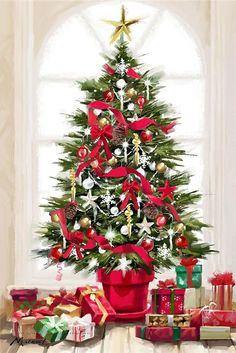 Xmas Tree Canvas Art - The Macneil Studio x Christmas Scenes, Noel Christmas, Christmas Pictures, Christmas Greetings, Winter Christmas, Christmas Crafts, Winter Holidays, Christmas Graphics, Christmas Clipart
