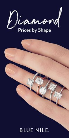 Did you know that choosing a fancy-shaped diamond can save you more than versus a round diamond of similar shape and quality? Blue Nile offers nine different styles of certified fancy-shaped diamonds ranging from princess-cut to cushion-cut and heart. Diamond Rings, Gold Rings, Diamond Bracelets, Wedding Band Sets, Gold Wedding, Wedding Ring, Diamond Are A Girls Best Friend, Promise Rings, Jewelery