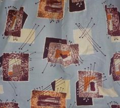 Vtg Barkcloth Fabric Mid Century Modern Space Age Atomic Aqua Blue Brown Curtain