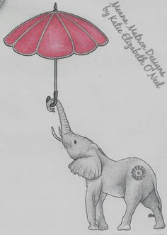 """Float Away""    A pencil , pen and prismacolor pencil sketch / drawing of an elephant with an umbrella.    Inspired by a beautiful piece of jewellery my friend sent me, and my desire sometimes to float away back home.    I may eventually get this is a tattoo, I'm quite fond of it."