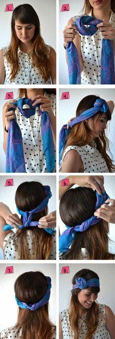 foulard dans les cheveux, tuto coiffure foulard avec noeud