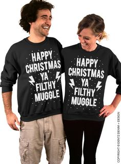 """Coupon code """"PINTEREST"""" Happy Christmas Ya Filthy Muggle - Ugly Christmas Sweater - Black Unisex Crew Neck for Men & Women by DentzDesign"""