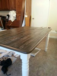 refurbished table with faux finish of barnwood.  using van Gogh Chalk Paint Collection - layering colors of Revenege, Balsamic and Serenity then using a wood grain tool.  sealed with van Gogh table french caffine table top finish to give the tough as nails finish that will hold up to the day to day use and abuse of a kitchen table