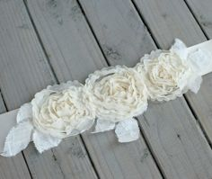 Ivory Flower and Lace Bridal Sash by BeautifulBlossoms on Etsy, $39.00