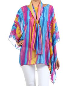 Another great find on #zulily! Purple Stripe Cape-Sleeve Tunic & Scarf #zulilyfinds