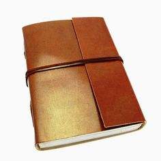 Leather Handmade Bags: Handmade leather journal with plain design leather...