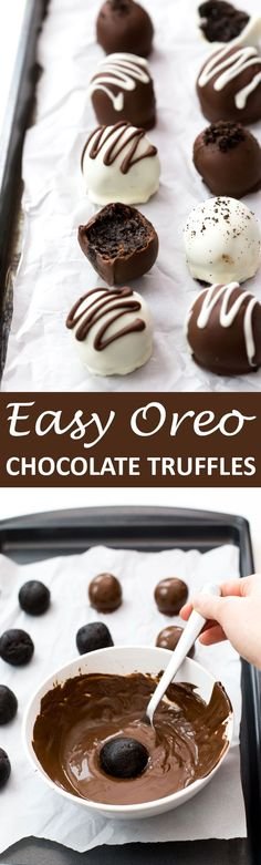 Super Easy No Bake Oreo Truffles made with only 4 ingredients. Made both ways with white chocolate and dark chocolate.