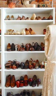 A bookcase disguised as custom built-in shoe shelves. | 21 Useful Things That Will Actually Organize Your Closet