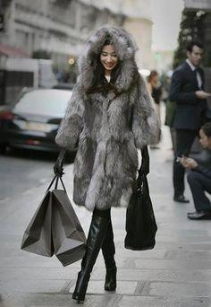 Street fur fashion Blue fox by Cocoonfurs on Etsy