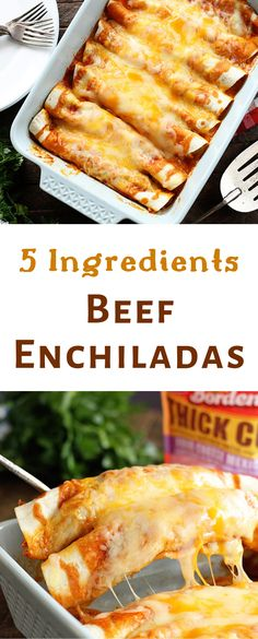 These quick and easy enchiladas only call for 5 ingredients and are ready in no time! It's the perfect recipe for a busy weeknight! #recipe #enchiladas #easy #quick #weeknight