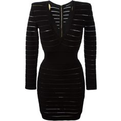 Balmain deep v neck fitted dress ($1,510) ❤ liked on Polyvore featuring dresses, black, ribbed dress, striped dress, fitted dresses, balmain dress and short dresses