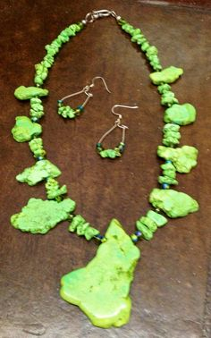 Chartreuse Howlite, crystals and sterling on Etsy, $165.00