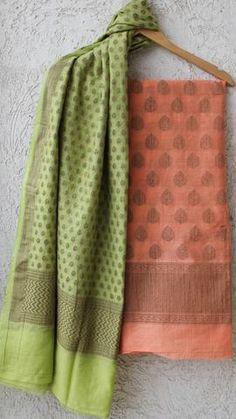 Benarasi Cotton Peach and Lime-Green Suit Material Peach Colour Combinations, Color Combinations For Clothes, Suit Combinations, Colour Combo, Saree Kuchu Designs, Churidar Designs, Green Suit Women, Suits For Women, Embroidery Suits Design