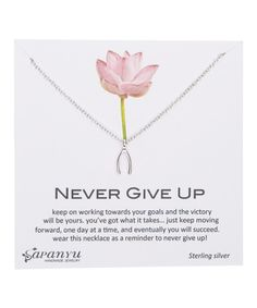 Look at this Sterling Silver Never Give Up Wishbone Inspiration Necklace on #zulily today!