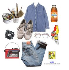 """""""Art"""" by ihavevintagelove-80s ❤ liked on Polyvore featuring Sarah's Bag, Topshop, Boutique, Levi's, Mason's, adidas and Garrett Leight"""