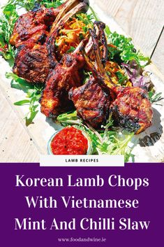 Korean Lamb Chops With Vietnamese Mint And Chilli Slaw Recipe Slaw Recipes, Savoury Recipes, Chicken Recipes, Tandoori Lamb, Tandoori Chicken, Dill Chicken, Buttermilk Ranch Dressing, Lamb Chop Recipes