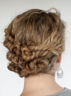 Hairstyle Tutorial - Easy Twist and Pin updo for curly hair - Hair Romance Curly Hair Updo, Long Curly Hair, Curly Hair Styles, Natural Hair Styles, Wavy Hair, Dyed Hair, Curly Short, Updo Styles, Thick Hair